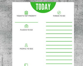 Today's Top Priority Daily Agenda, Task List, To Do List, Agenda, Daily Planner, Prioritization
