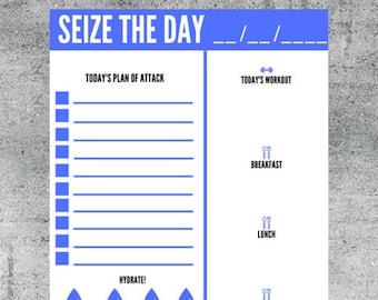 Seize The Day Printable, Daily Agenda Printable, Daily Planner, Agenda, To Do List, Tracker, Checklist, Task List