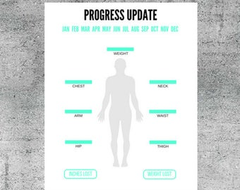 printable weight and body measurement progress update progress tracker health and fitness tracker weight loss