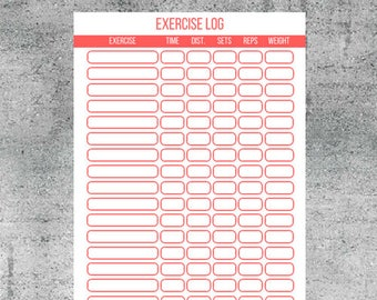 exercise log workout log exercise tracker workout tracker fitness tracker gym log printable