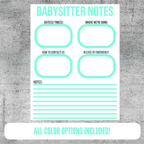 babysitter notes babysitter babysitting printable etsy