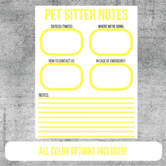 pet sitter notes pet sitting notes printable pet sitter etsy