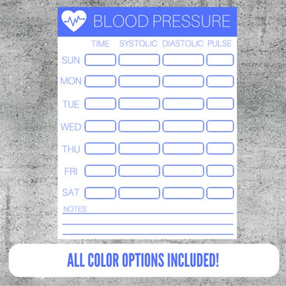 Printable Blood Pressure Tracker Monitoring