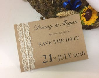 Rustic lace save the date cards with envelope