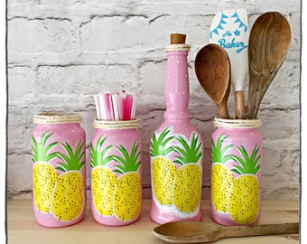 Tropical pineapple storage jars, kitchen and dining, home decor, jar vases, pretty and summery decorative jars