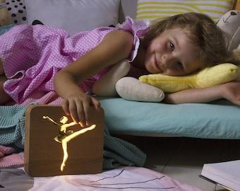 Nightlight for children Ballerina. Night light lamp baby. Table lamps for bedroom. Сhildrens nightlight.  Nursery projector light kids gift