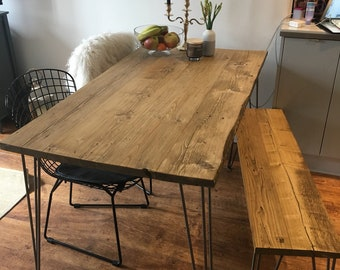 Reclaimed Dining Table Hairpin Rustic Industrial Scaffold Board Salvage Plank Solid Wood Warehouse Furniture