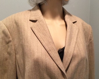 6d6f06cd5 Vintage Talbots Petites 16P Women Corporate Business Professional Blazer  Lite Camel Brown Pin Striped
