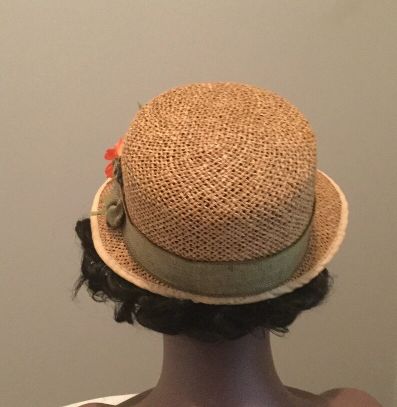 Ball Game Lunch Beach Church Tan Straw Weave Vintage Re-Styled Women Sun Cap Hat Vibrant Orange Flowers