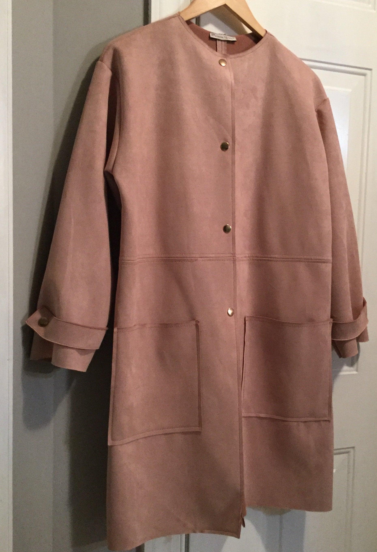 03d7fddcff Vintage Zara Women M All Season Dusty Pink Faux Suede Dress