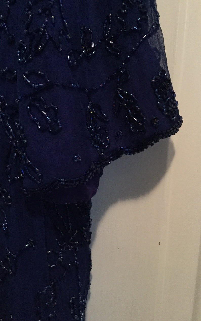 Made India,Mint Condition Vintage Roaman\u2019s Women 22W Formal Evening Cobalt Blue Pure Silk Blouse w Ornate beads and sequins