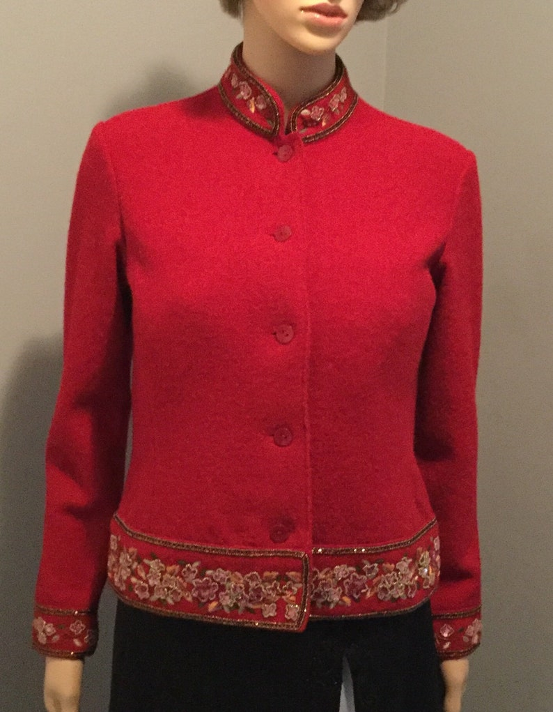 823ad41e8e6 Vintage Talbots Women S P Red Formal Pure Wool Sweater Jacket