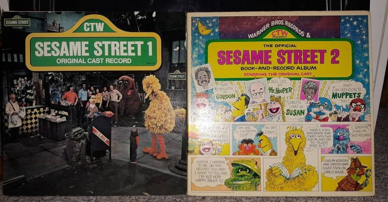 Vintage 1970's Vinyl Albums Seasame Street 1 and Seasame Street 2 Book and  Record Nice 2 lp vinyl record set Free Shipping