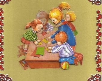Crafts, 3d card, handmade crafts category: kindergarten - birthday teacher, kindergarten, nursery, kids games.