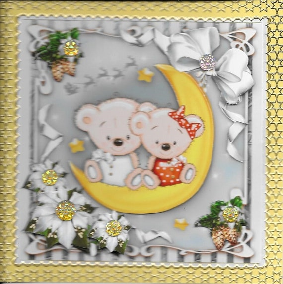 Religious Christmas Cards For Kids.Christmas Card Handmade 3d Kids Category And Characters In The Winter Christmas Nativity Religious Bears Moon Stars Fleurses