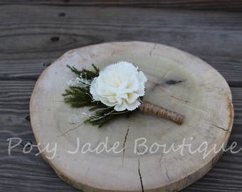 Sola Carnation Pine Boutonniere