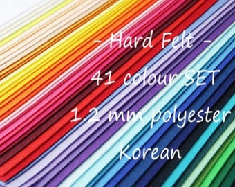 Hard Felt - 41 Colour Felt Sheets - Thickness 1.2mm, 100% Polyester Felt - Colour mix - 2 Sizes - Korean Felt, Shinwon Felt
