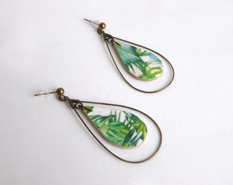 These earrings. Teardrop hoops. jungle pattern