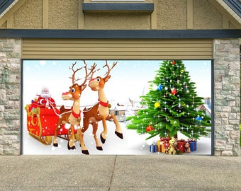 christmas decor for garage door santa claus garage door mural holiday outdoor decor xmas mural garage door cover xmas decorations - Garage Christmas Decorations