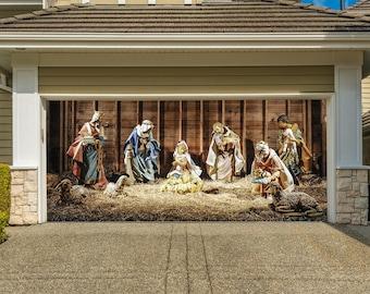 nativity scene garage door cover christmas outdoor decor double garage door mural holy night wall print jesus christmas murals