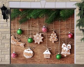 christmas gingerbread decor single garage door cover winter themed decor christmas door murals garage door banner holiday outdoor decor