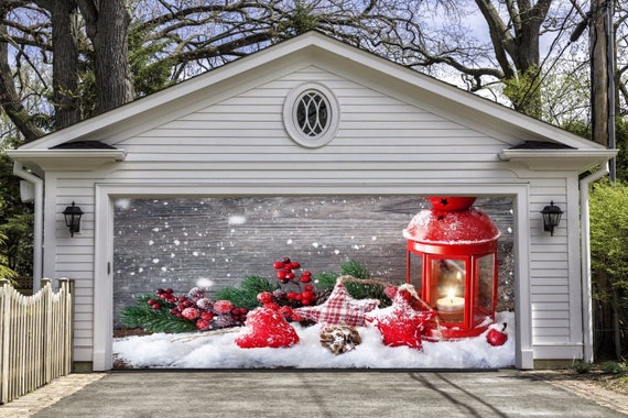 Christmas Decor For Garage Door Christmas Garage Door Mural Holiday Outdoor Decor Xmas Mural Garage Door Cover Banner Xmas Decorations