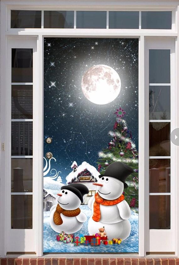 Christmas Door Covers.Christmas Door Decor Christmas Front Door Mural Holiday Outdoor Decor Christmas Door Cover Full Color Snowman Mural 3d Effect Don36
