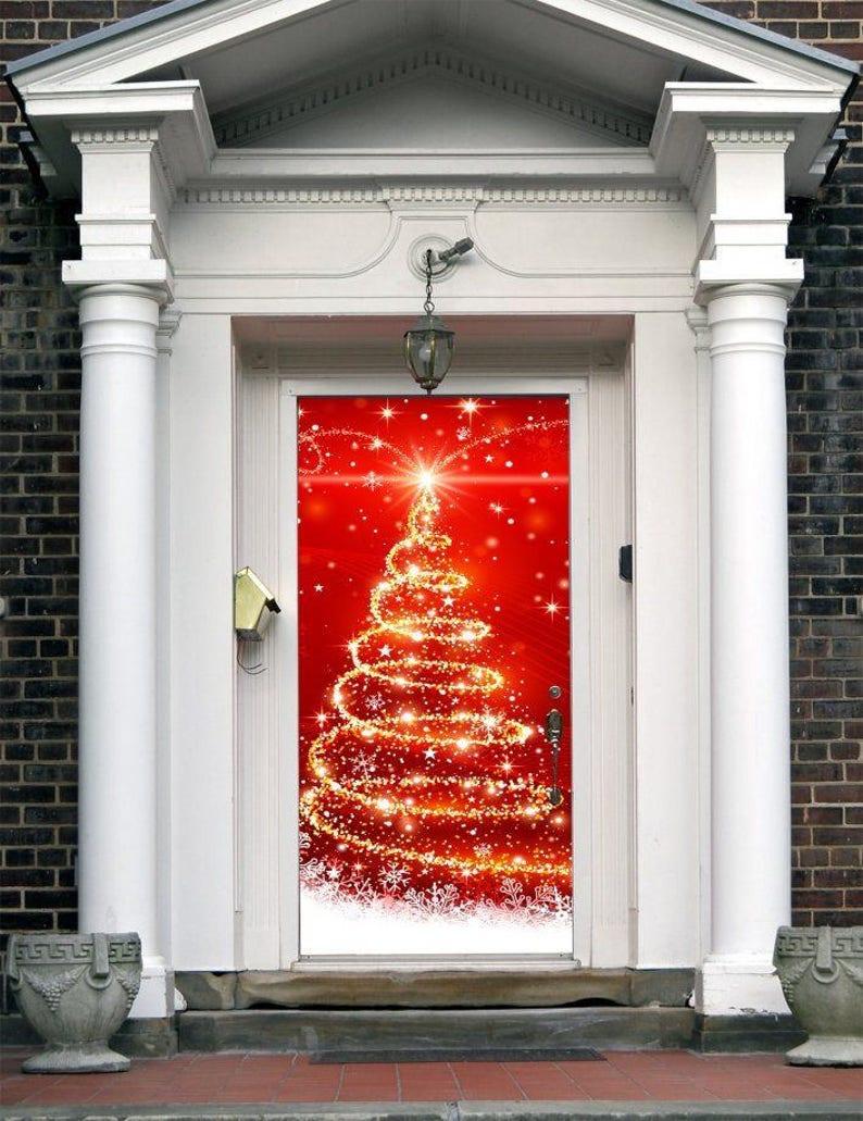 Christmas Entry Door Cover  Christmas Front Door Murals  image 0