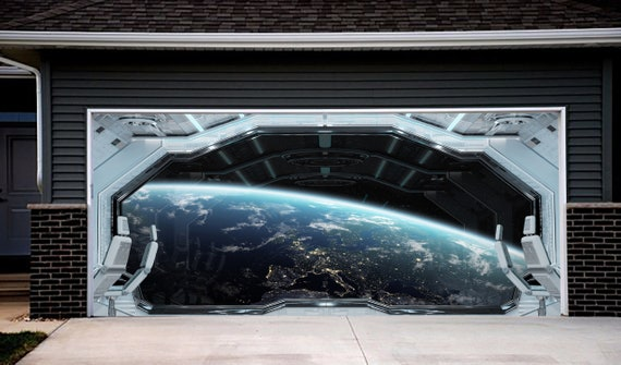Space Station Window Banner Double Garage Door. Galaxy Outer Space for Double Garage Door Cover. Outer Space Outdoor Decoration NG99