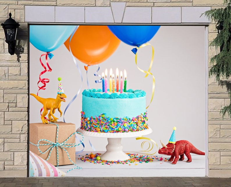 Decoration Banner Happy Birthday Single Garage Door Cover