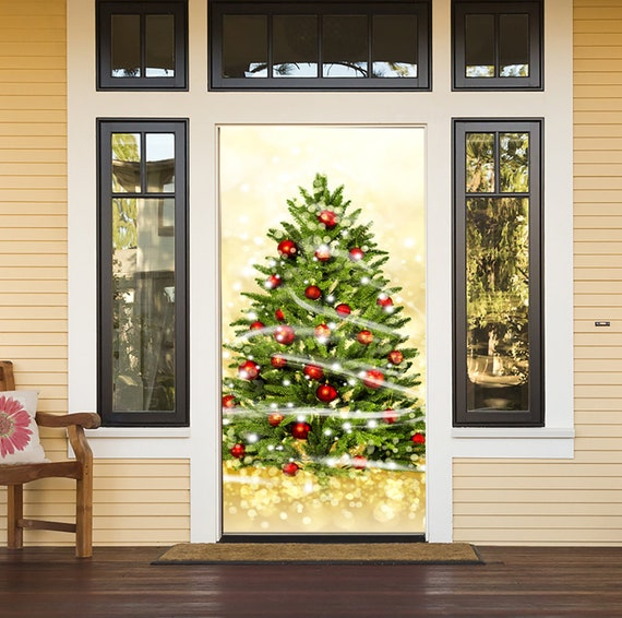 Christmas Tree Banner Home Decor Christmas Balls Decor For House Entry Door Holiday Front Door Cover Mural Outdoor Christmas Decor