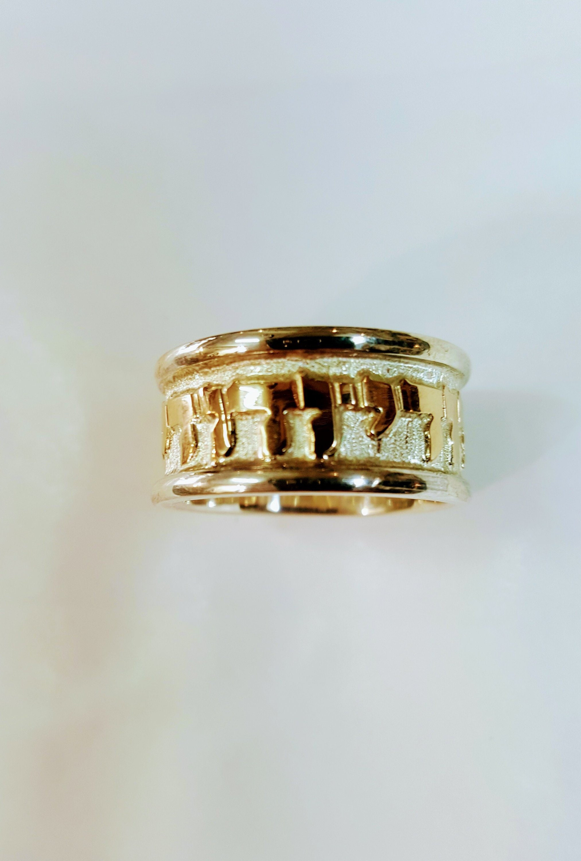 It is a picture of 43k solid Gold my beloved band, Hebrew ring, Jewish wedding band, Judaica jewelry,