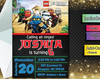 Lego Ninjago INVITATION with FREEEE Thank you card! Lego Ninjago Party Invitation, Birthday Banner