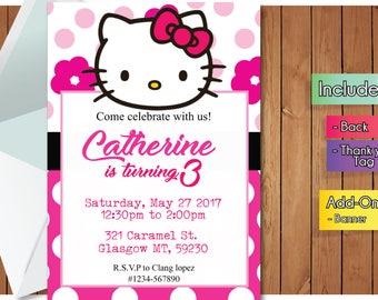Hello Kitty INVITATION with FREEEE Thank you card! Hello Kitty Party Invitation, Birthday Banner