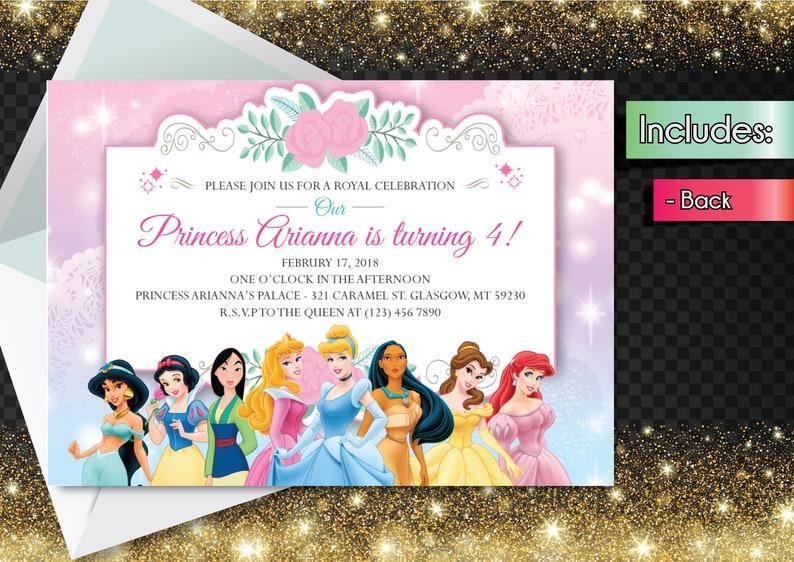 Editable PDF Disney Princess Invitation Downloadable