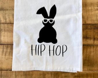 Hip Hop Bunny Flour Sack Tea Towel