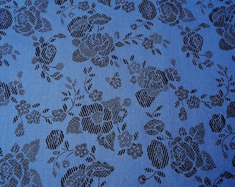 Blue cotton with black flowers