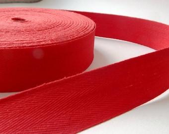 50 cm 3 cm width red Twill cotton Ribbon