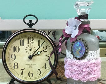 Pink & Burgundy Cameo Altered Bottle