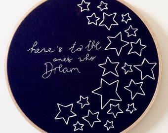 La La Land Embroidery Hoop Art, Hand Embroidered Home Decor,  Handmade Art
