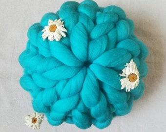 Merino wool chunky pillow, decorative cushion