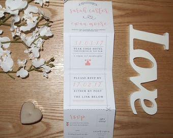 White and Pink Concertina Wedding Invite & RSVP Card with Envelopes