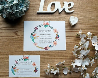 Flower Wreath Floral Personalised Wedding Invite & RSVP Card Set with Envelopes