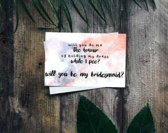 """Hold My Dress Watercolour Personalised Bridesmaid Card 6x4"""" - Will You Be My Bridesmaid?"""