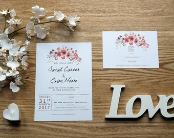 Red and White Watercolour Flowers Personalised Wedding Invite & RSVP Card Set with Envelopes
