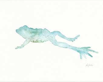 Frog (watercolour - aquarelle) with frame