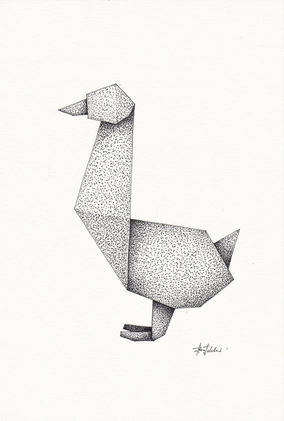 Origami Goose pen and ink drawing with frame | Etsy