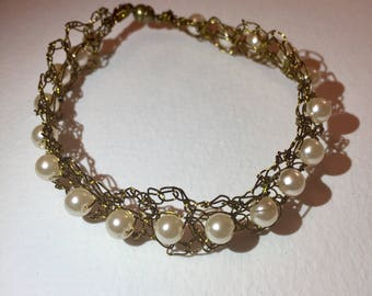 Antique gold colour wire crochet bracelet with pearl beads