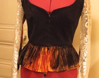 Peplum velvet and lace Camisole