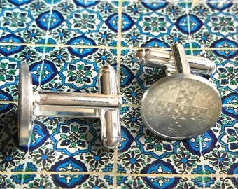 Cufflinks with old Portuguese mints